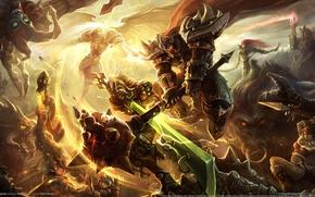 Wallpaper monsters, weapons, battle, wings, magic, league of legends, armor