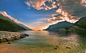 Picture clouds, mountains, river, stones, shore, duck