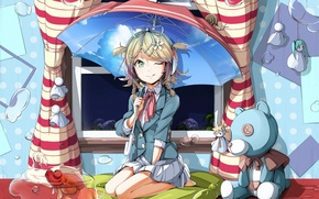 Picture language, water, flowers, room, toys, aquarium, fish, umbrella, headphones, window, girl, vocaloid, kagamine rin, hydrangea, …