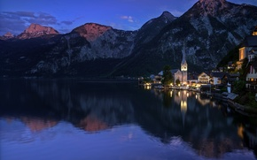 Picture forest, mountains, lake, rocks, home, the evening, Austria, Hallstatt