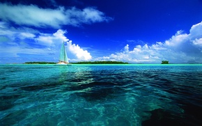 Picture the sky, the ocean, yacht, Tahiti