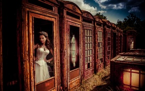 Picture fantasy, vintage, retro, model, bride, corset, Lucy Scarfe, kiosk, phonebox, storytelling