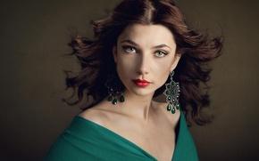 Picture girl, decoration, earrings, makeup, dress, brunette, curls