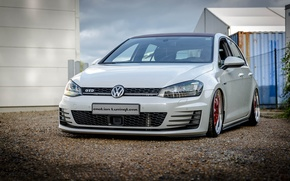 Picture Volkswagen, red, white, wheels, Golf, GTI
