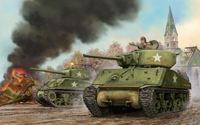 Picture art, tank, the battle, game, the, U.S., Sherman, Jumbo, Sherman, Jumbo, M4A3E2, Flames of War, …
