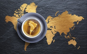 Picture foam, creative, coffee, Cup, drink, saucer, continents