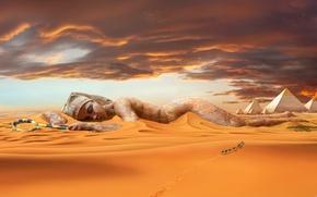 Picture sand, desert, dunes, statue, pyramid, camels, caravan