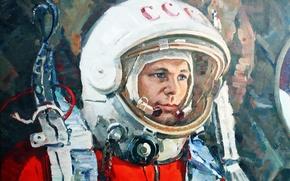 Picture astronaut, the suit, hero, USSR, legend, pilot, Yuri Gagarin