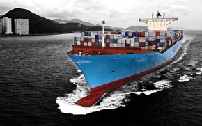 Picture Water, Sea, Blue, The ship, A container ship, Tank, Black and white, Container, Maersk, On …