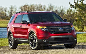 Picture the sky, water, trees, red, sport, jeep, sport, ford, drives, Ford, the front, explorer, Explorer