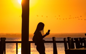 Wallpaper girl, summer, fireball, flying, water, lake, birds, sun, paradise, reflection, silhouette, sunny, cell phone
