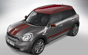 Wallpaper photo, Mini, Countryman, Tuning, Grey, Car, Park Lane, 2015