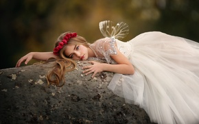 Picture roses, dress, girl, the beauty, wreath