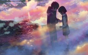 Picture clouds, lights, jacket, two, art, Makoto Shinkai, Kimi no VA On, Miyamizu Mitsuha, Tachibana Taki, ...