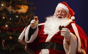 Wallpaper Santa, tree, cookies