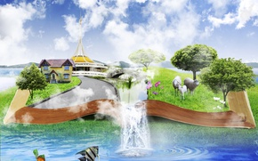 Picture the sky, water, clouds, trees, fish, flowers, sheep, waterfall, meadow, book, house, 3d