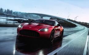 Picture Aston Martin, Red, Car, Speed, V12, Rain, Road, Zagato