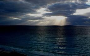Picture sea, the sun, light