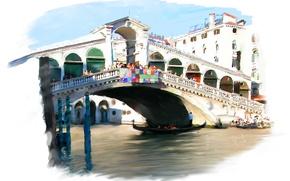 Picture bridge, the city, Venice, Rialto