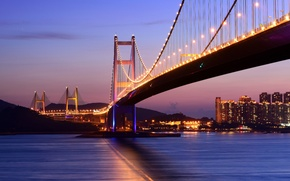 Picture sea, night, bridge, lights, Hong Kong, lighting, Hong Kong