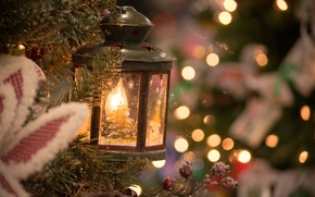Picture decoration, branches, lights, holiday, tree, Christmas, lantern, New year, bokeh