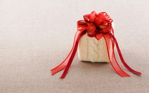 Wallpaper red, gift, tape, fabric, bow, box, knitted