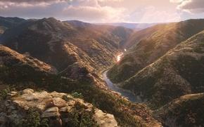 Picture cinema, rock, sunshine, Disney, river, sky, landscape, stone, cloud, tree, sun, movie, animal, valley, leaf, …