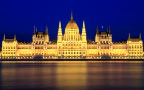 Picture backlight, Parliament, the building, lighting, architecture, lights, capital, Hungary, night, blue, the sky, Budapest, The ...