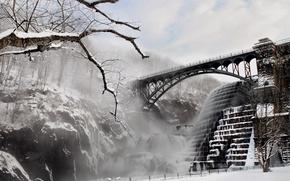 Picture winter, bridge, river, dam