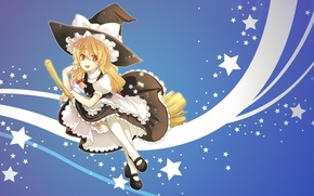 Picture flight, witch, broom, stars, touhou, ruffles, Kirisame Marisa, witch hat, Touhou Project, Project East