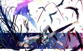Picture birds, tape, anime, art, vocaloid, hatsune miku, Vocaloid, miku append, nako, girl feathers
