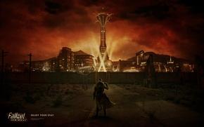 Wallpaper lights, night, road, Ranger, Fallout, the city, New Vegas