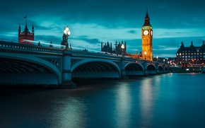 Picture night, bridge, England, London, Thames, big Ben