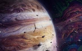 Wallpaper art, asteroids, Jupiter, jupiter and juno, satellite, planet, giant, space