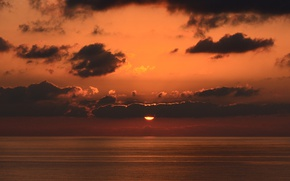 Wallpaper twilight, sea, ocean, sunset, seascape, clouds, sun, dusk, horizon