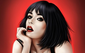 Wallpaper portrait, red lips, look, Girl, red background