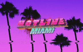 Picture Palm trees, Pink, Purple, Hotline Miami