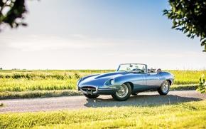 Picture car, Jaguar, convertible, sportcar, classic, road, classic, roadster, british, E-type