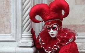 Wallpaper Venice, mask, carnival, red