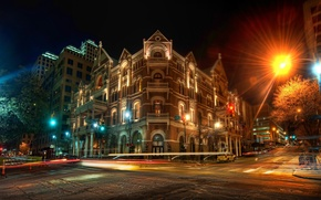 Picture road, night, lights, building, The Driskill at Night, austin