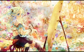 Picture leaves, fish, butterfly, fantasy, Girl, vase, brush, canvas, imagination, easel