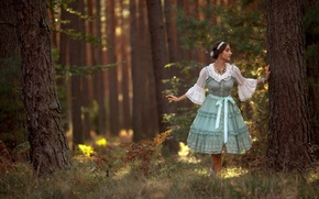 Wallpaper forest, dress, the situation, girl, trees