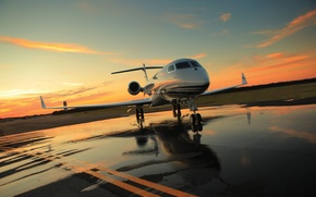 Picture Sunset, The sky, Clouds, The evening, Photo, Aviation, The airfield, The plane, Jet, Gulfstream, Business …