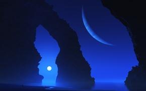 Wallpaper sea, rock, planet, arch, digital, maya