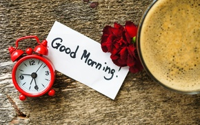 Picture flowers, time, Board, watch, coffee, morning, alarm clock, Cup, note, clove