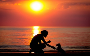 Picture sea, girl, sunset, dog, silhouette