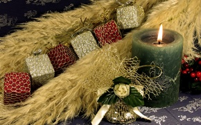 Wallpaper green, fire, flame, holiday, green, cubes, Shine, new year, candle, new year, bell, Christmas decorations