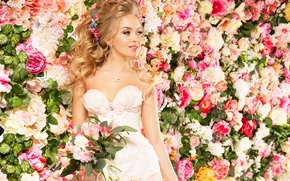 Picture girl, decoration, flowers, smile, roses, dress, the bride, flowers, Roses, bride, Jewelry, Eustoma