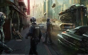 Picture the city, future, street, police
