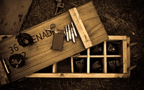 Wallpaper ring, wooden, box, cartridges, grenades, fuse